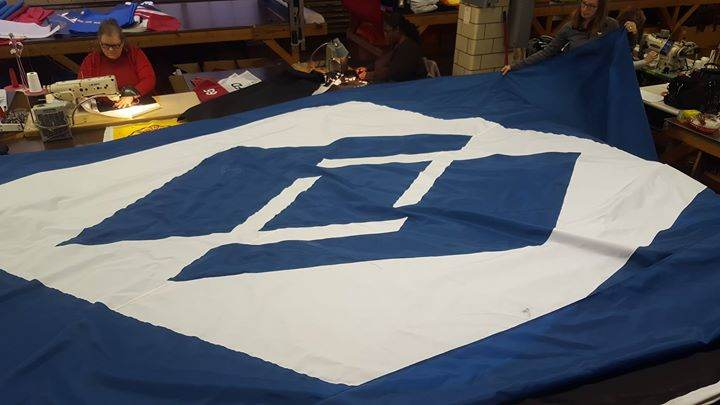 Another set of 12x18 ft. Fuyoa Glass custom flags with ...