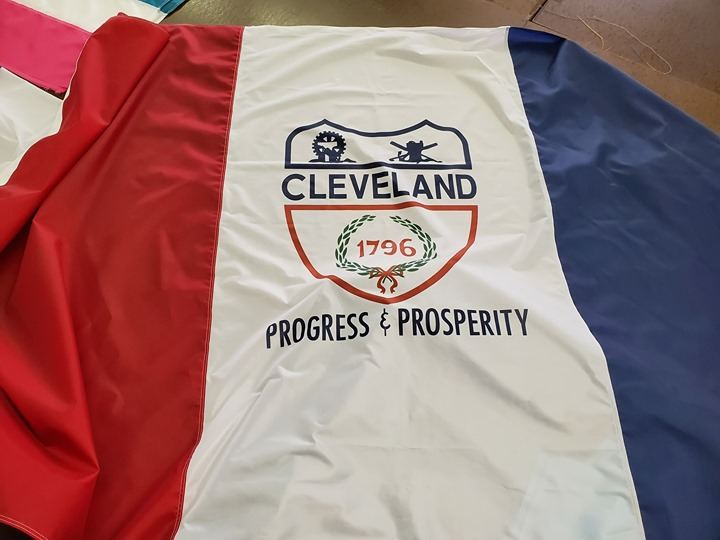 Last stages for Cleveland Flag complete.