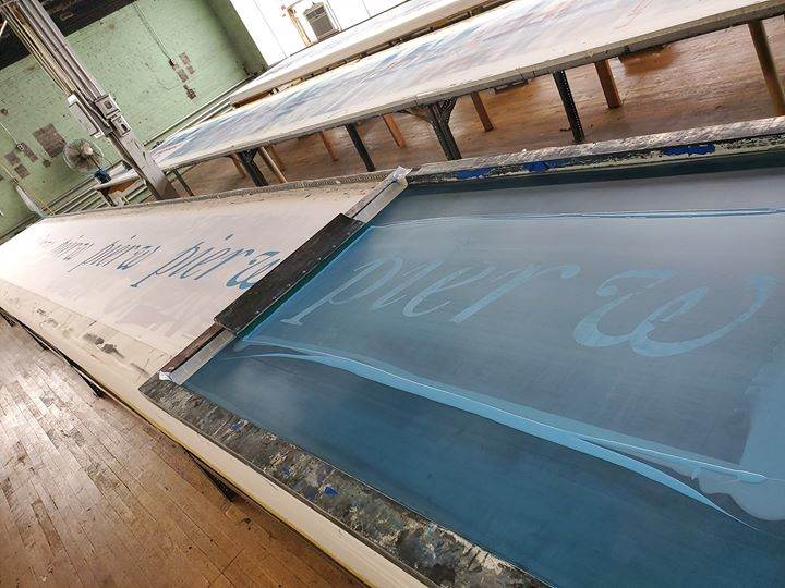 We are screen printing some flags for Pier W today. Sew...